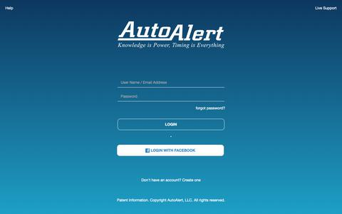 Screenshot of Login Page autoalert.com - AutoAlert   Login - captured March 23, 2019