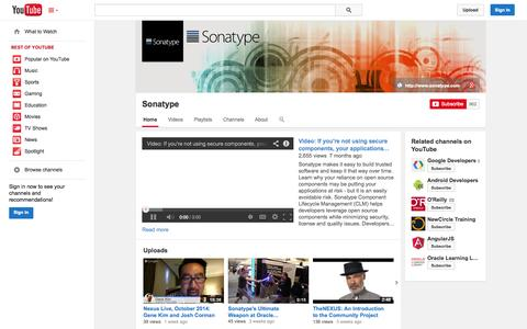 Screenshot of YouTube Page youtube.com - Sonatype  - YouTube - captured Oct. 22, 2014