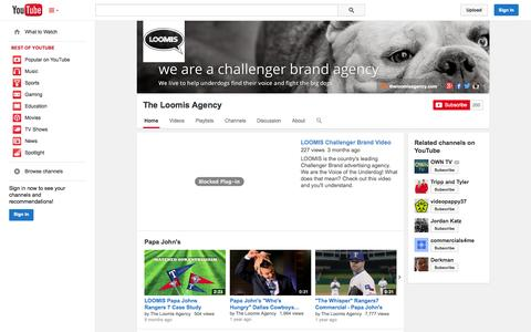 Screenshot of YouTube Page youtube.com - The Loomis Agency  - YouTube - captured Nov. 5, 2014