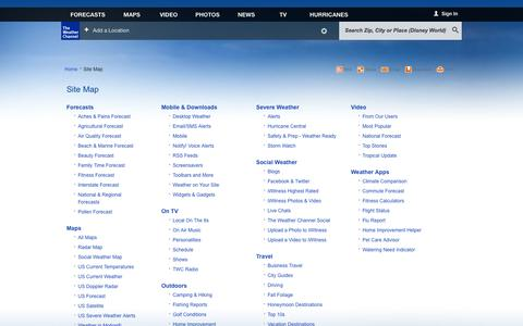 Screenshot of Site Map Page weather.com - weather.com - Site Map - captured Oct. 26, 2014