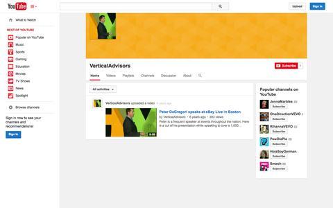 Screenshot of YouTube Page youtube.com - VerticalAdvisors  - YouTube - captured Oct. 26, 2014