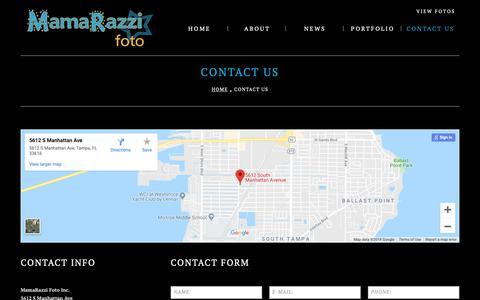 Screenshot of Contact Page mamarazzifoto.com - Contact Us     MamaRazzi Foto - captured Oct. 2, 2018