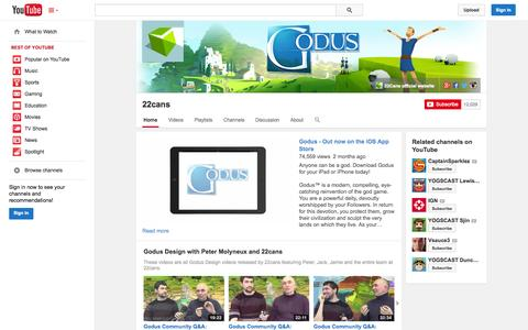 Screenshot of YouTube Page youtube.com - 22cans  - YouTube - captured Oct. 25, 2014
