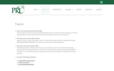 Screenshot of Products Page pri.gov.pk - Products  –   PRI - captured Nov. 1, 2014