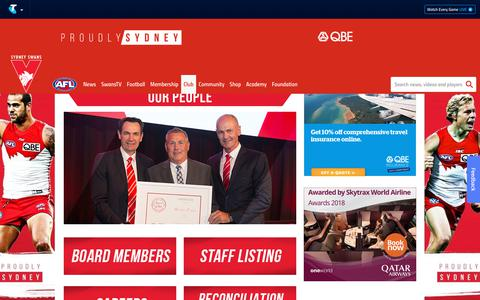 Screenshot of Team Page sydneyswans.com.au - Our People - sydneyswans.com.au - captured Sept. 23, 2018