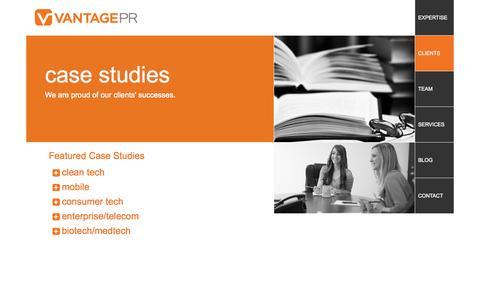 Screenshot of Case Studies Page vantagepr.com - PR Case Studies - Highlights of our Clients' Successes | Vantage PR - captured Oct. 26, 2014