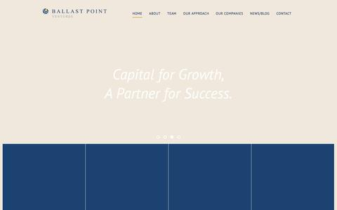 Screenshot of Home Page ballastpointventures.com - Home - captured Oct. 18, 2019