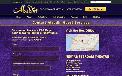 Screenshot of Contact Page aladdinthemusical.com - Contact Guest Services | ALADDIN on Broadway Official Site - captured Nov. 4, 2014