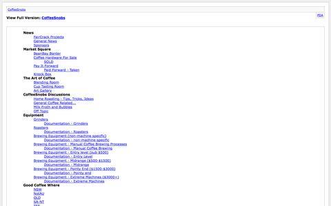 Screenshot of Site Map Page coffeesnobs.com.au - CoffeeSnobs - captured Oct. 30, 2014