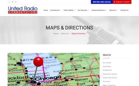 Screenshot of Maps & Directions Page urci.com - View Maps And Directions To Our Office United Radio Communications, Inc. Chicago Illinois - captured Oct. 18, 2018
