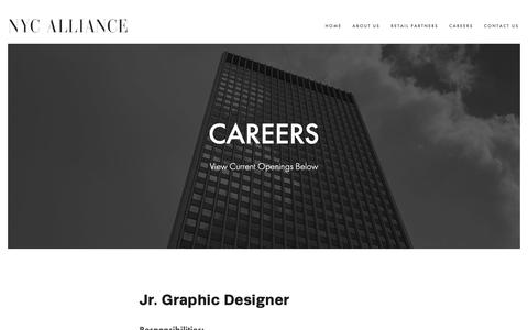 Screenshot of Jobs Page nycalliance.com - CAREERS — NYC ALLIANCE - captured Nov. 7, 2018