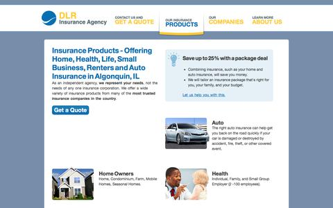 Screenshot of Products Page dlrins.com - Offering Auto, Home, Renters, Condominium, Business, Health and Life Insurance in Algonquin, IL - captured Oct. 11, 2017