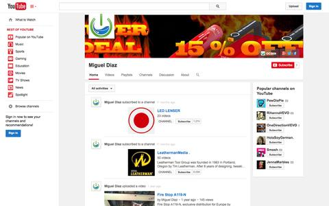 Screenshot of YouTube Page youtube.com - Miguel Diaz  - YouTube - captured Oct. 29, 2014