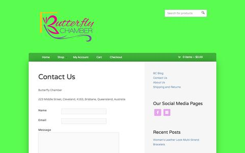 Screenshot of Contact Page butterflychamber.com - Contact Us - Butterfly Chamber - captured Sept. 30, 2014