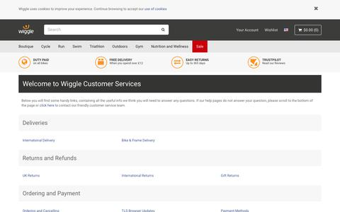 Screenshot of Contact Page wiggle.co.uk - Wiggle Customer Services - captured Jan. 9, 2019