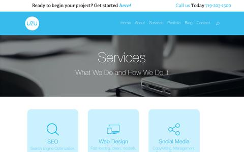 Screenshot of Services Page uzu-media.com - Services - SEO, Social Media, SEM, Web Design | UZU Media - captured June 12, 2017