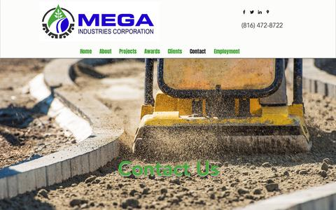 Screenshot of Contact Page megakc.com - Contact | Mega Industries Corporation - captured Oct. 17, 2018