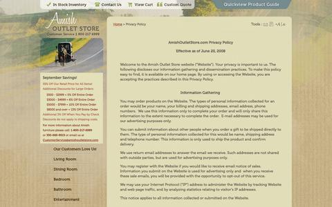 Screenshot of Privacy Page amishoutletstore.com - 33% OFF Amish Furniture: Privacy Policy - captured Sept. 19, 2014