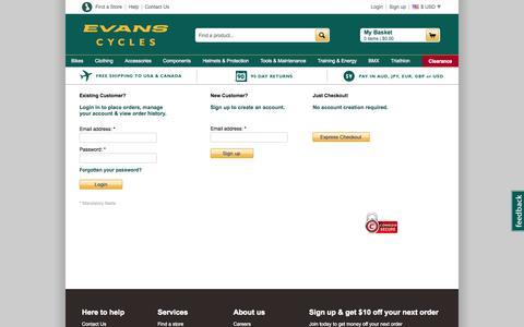Screenshot of Login Page evanscycles.com - Evans Cycles | Mountain Bike | Specialized Bikes | UK Online Bike Shop - captured Sept. 18, 2014