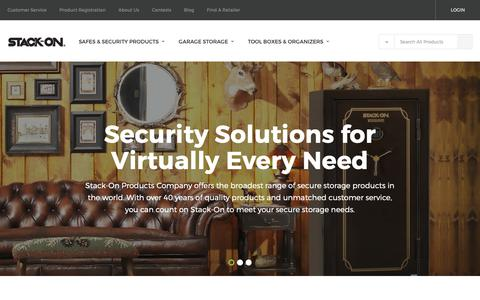 Screenshot of Home Page stack-on.com - Stack-On Products – Safes, Gun Safes, Garage Storage and Organization Solutions - captured Oct. 11, 2018