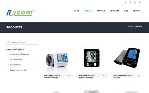 Screenshot of Products Page jxb-htb.net - Products-forehead thermometer-leader manufacturer-Rycom - captured Feb. 22, 2016