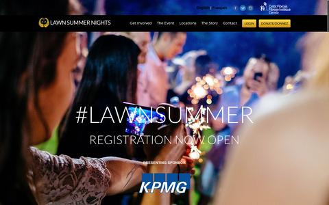 Screenshot of Home Page lawnsummernights.com - Lawn Summer Nights - A unique lawn bowling fundraiser benefitting Cystic Fibrosis Canada. - captured May 15, 2017