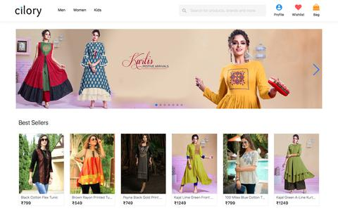 Screenshot of Home Page cilory.com - Online Shopping T-Shirt, Kurtis, Suits, Lingerie, Dress, Clubwear, Fashion Jewellery, Nightwear - Cilory - captured Oct. 12, 2019