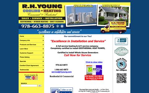 Screenshot of Home Page rhyoung.com - R.H. Young Cooling and Heating, Inc. Furnace, Air Conditioning, GeoThermal, Duct Cleaning, Heating Contractors - Home - captured Oct. 7, 2014