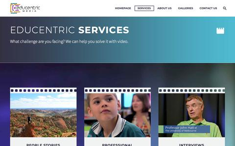 Screenshot of Services Page educentric.com.au - education video production services Educentric Australia - captured July 16, 2018