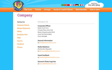 Screenshot of Privacy Page Contact Page Jobs Page FAQ Page bostonducktours.com - Boston Duck Tours – Contact, Career, Questions and Company Info - captured Sept. 25, 2018
