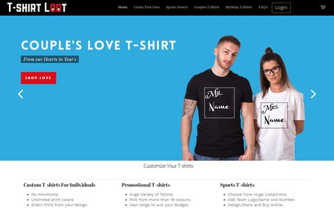 Screenshot of Home Page tshirtloot.com - T-shirt Loot – Customized T-shirts India | Design own T-shirt - captured March 5, 2018