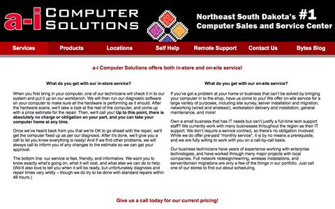 Screenshot of Services Page a-ics.com - Services  |  a-i Computer Solutions - captured Feb. 6, 2016