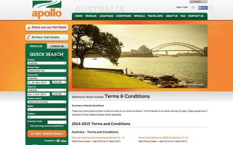 Screenshot of Terms Page apollocamper.com - Terms and Conditions for Apollo Motorhome Holidays Australian rentals - captured Sept. 25, 2014