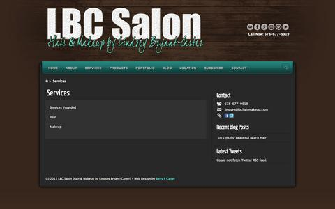 Screenshot of Services Page lbchairmakeup.com - Services | LBC Salon (Hair & Makeup by Lindsey Bryant-Carter) - captured Oct. 1, 2014