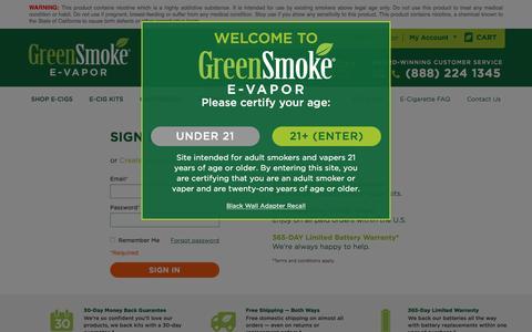 Screenshot of Login Page greensmoke.com - Customer Login - captured Aug. 22, 2016