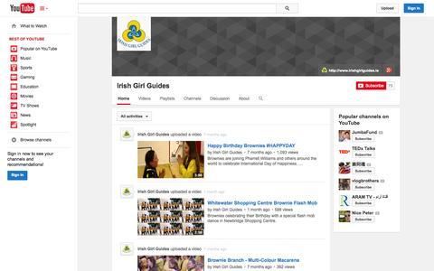 Screenshot of YouTube Page youtube.com - Irish Girl Guides  - YouTube - captured Oct. 23, 2014