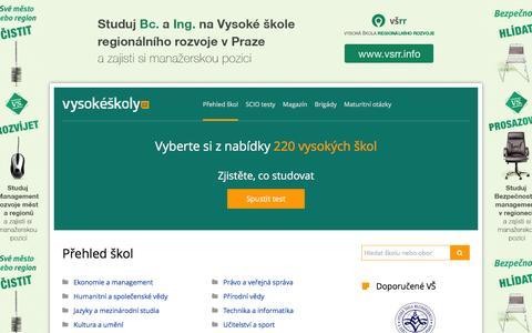 Screenshot of Home Page vysokeskoly.cz - Soukromé a státní vysoké školy - přijímací zkoušky, studium na VŠ a vzdělávání - Vysoké školy - captured Dec. 4, 2016
