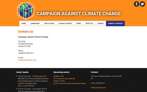 Screenshot of Contact Page campaigncc.org - Contact us | Campaign against Climate Change - captured Sept. 26, 2018