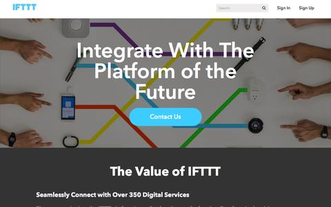 Screenshot of Developers Page ifttt.com - Developing at IFTTT - captured July 28, 2016