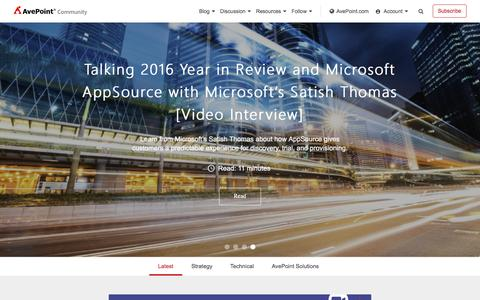 Screenshot of Blog avepoint.com - AvePoint Community - The Microsoft Cloud Expert - captured Dec. 13, 2016