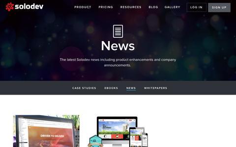 Screenshot of Press Page solodev.com - News - captured April 6, 2017