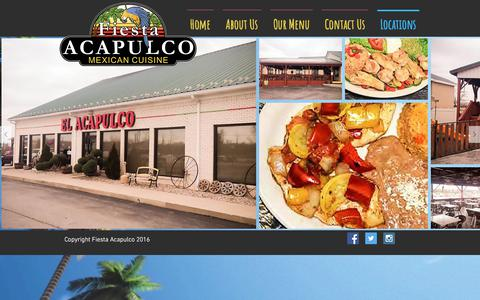 Screenshot of Locations Page fiestaacapulco.com - Fiesta Acapulco Newburgh, Indiana | Locations - captured Feb. 12, 2018