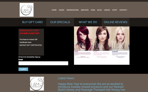 Screenshot of Home Page iamsalonanddayspa.com - Home | Welcome to I Am Salon & Day Spa - captured Jan. 26, 2015