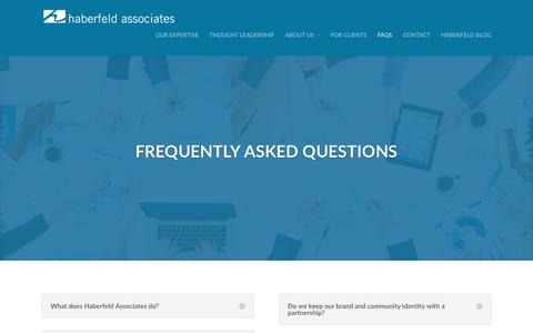 Screenshot of FAQ Page haberfeld.com - FAQs   Haberfeld Associates   Lincoln, NE - captured Jan. 24, 2016