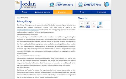 Screenshot of Privacy Page thejordaninsuranceagency.com - Trustworthy Charlotte Insurance Agency - captured Oct. 7, 2014