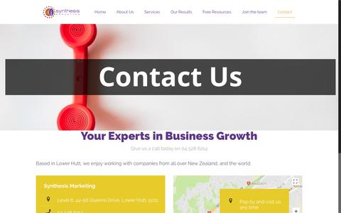 Screenshot of Contact Page synthesis.co.nz - Contact - Synthesis Marketing - captured Oct. 27, 2017