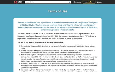Screenshot of Terms Page gamerguides.com - Gamer Guides - Terms of Use - captured July 12, 2018