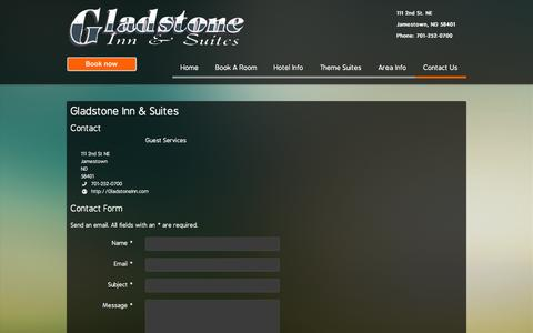 Screenshot of Contact Page gladstoneinn.com - Gladstone Inn & Suites - Contact Us - captured Sept. 30, 2014
