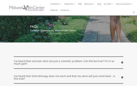 Screenshot of FAQ Page midwestvein.com - FAQs & Vein Disease Questions   Midwest Vein Center - captured Dec. 29, 2019