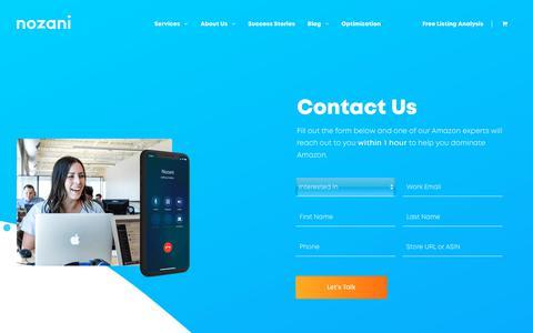 Screenshot of Contact Page nozani.com - Contact Us – Nozani - captured Dec. 6, 2018